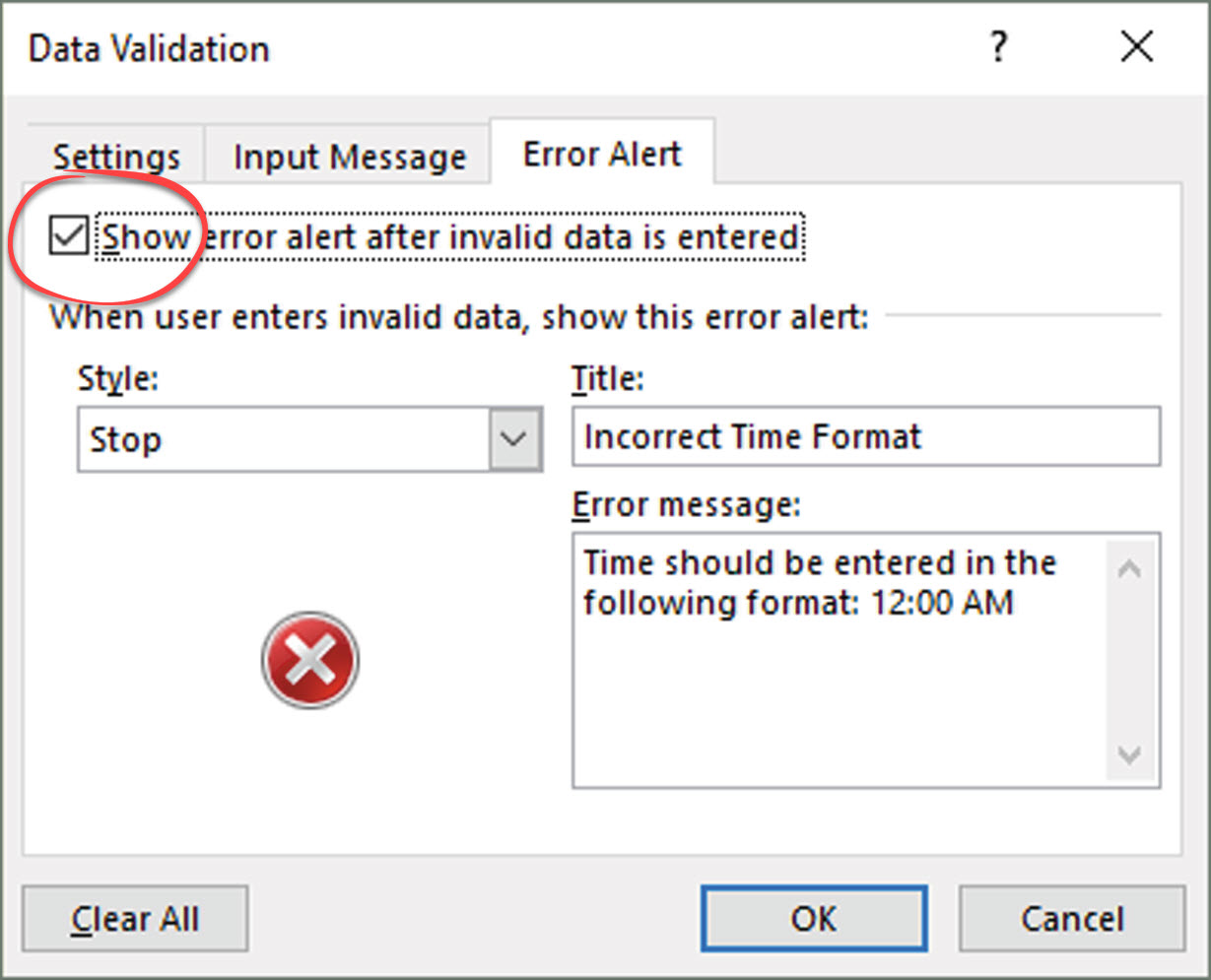Excel Data Validation – Check to See if Entered Data is in