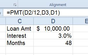 use excel pmt formula to determine loan interest pryor learning