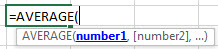Excel Average Formula Figure 1