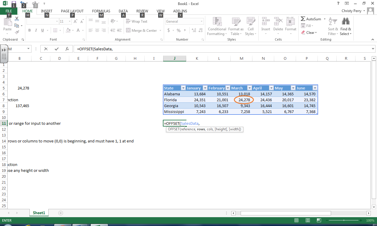 Excel Offset Formula | Pryor Learning Solutions