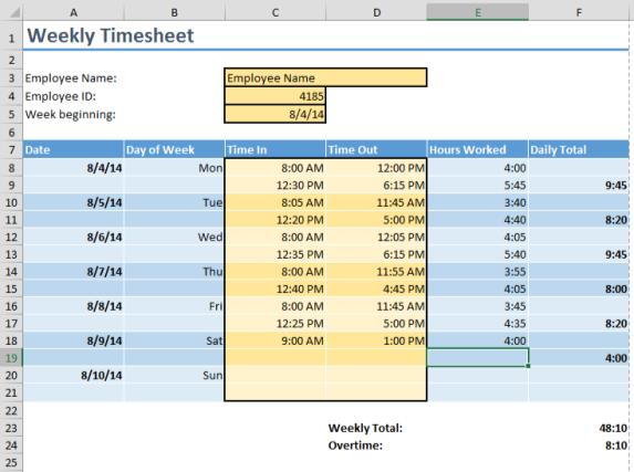 Calculating time with excel formulas pryor learning for Template to calculate hours worked