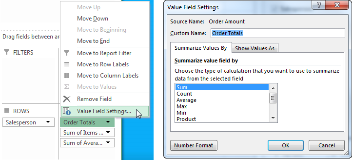 Dressing Up Your PivotTable Design - Rename Columns