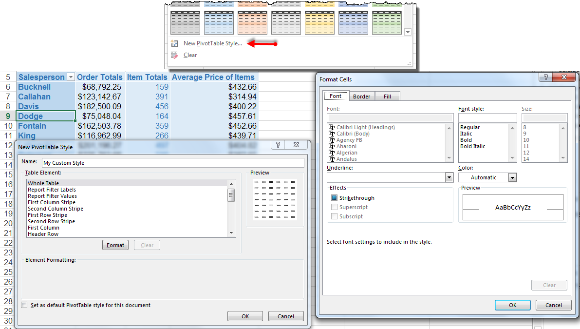 Dressing Up Your PivotTable Design - Change the Color