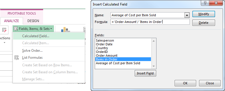 How to Create a PivotTable Calculated Field in Excel - Insert Calculated Field