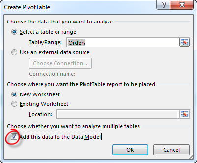 Create PivotTable Multiple Sheets - Add Tables to your Data Model