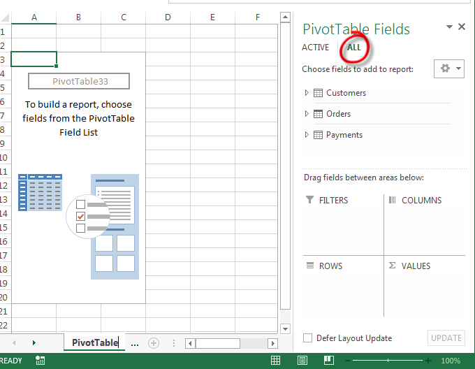Create PivotTable Multiple Sheets - All Tables in your Data Model