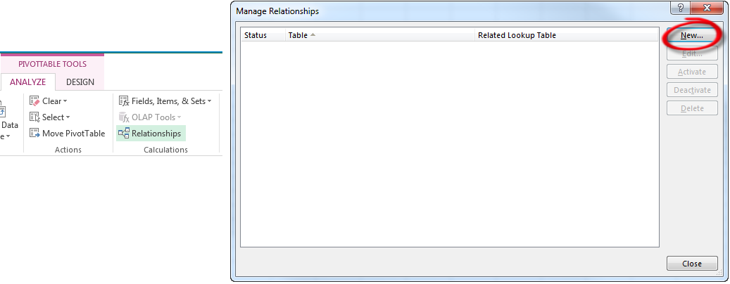 Create PivotTable Multiple Sheets - Manage Relationships
