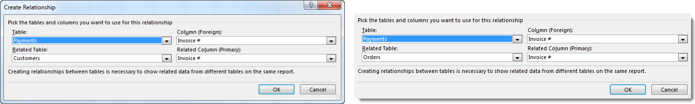 Create PivotTable Multiple Sheets - Create Relationships