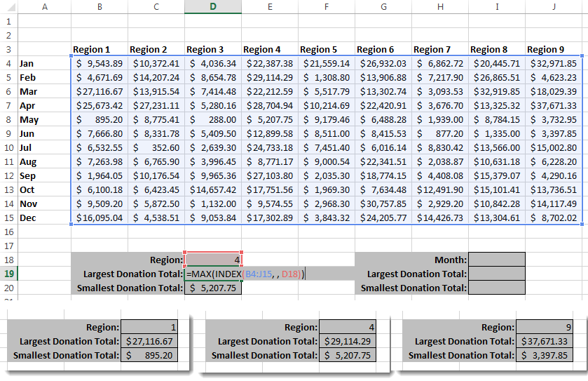 Excel Index Formula - Values in a row or column 2