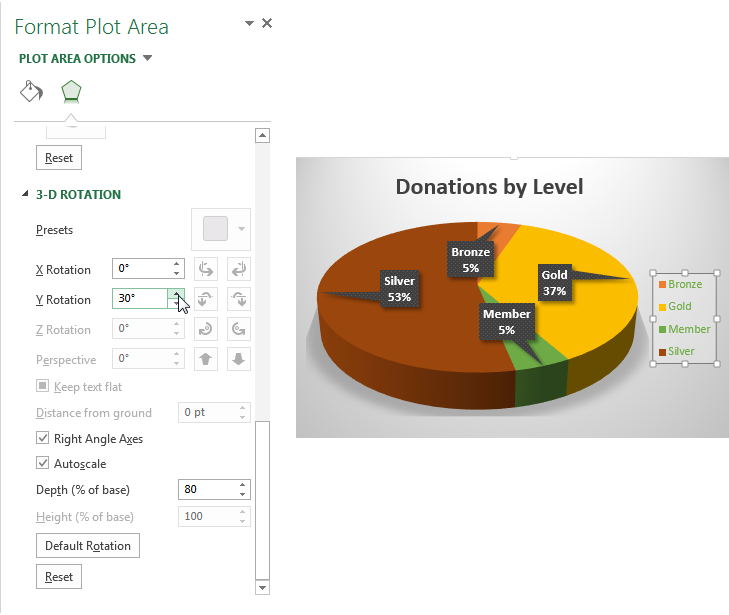 Create Outstanding Pie Charts in Excel - Format Plot Area