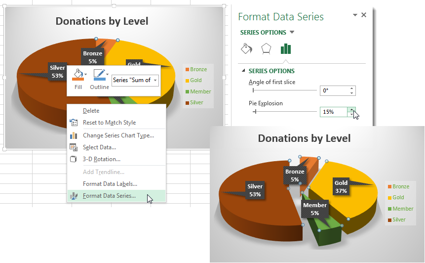 "Create Outstanding Pie Charts in Excel - ""Explode"" Slices"