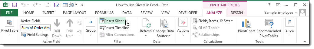 How to Use Slicers in Excel 2013 - Insert Slicer