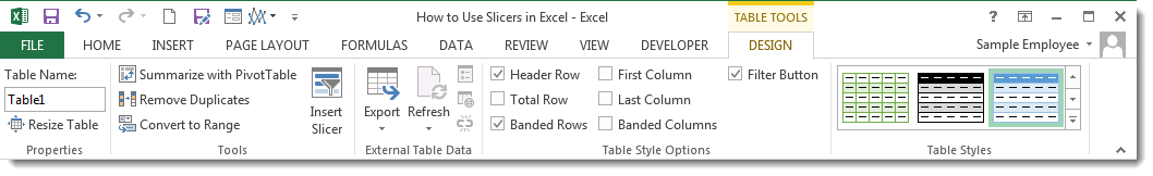 How to Use Slicers in Excel 2013 - Add Slicer to a Table