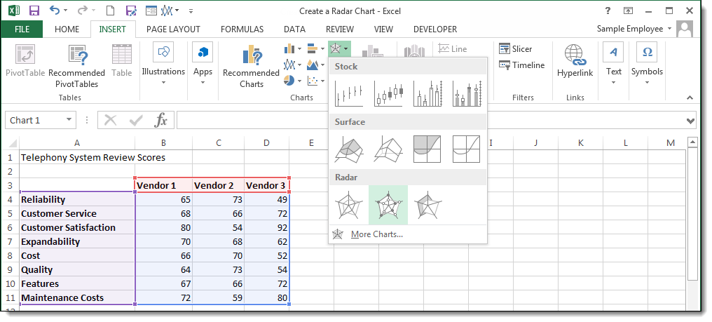 How to Make a Radar Chart in Excel | Pryor Learning Solutions