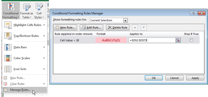 how to change multiple conditional formatting
