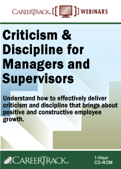 Employee Criticism & Discipline Skills for Managers and Supervisors Training