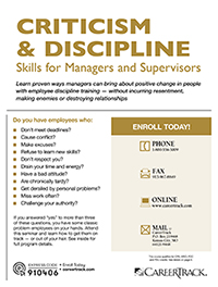 Criticism & Discipline Skills for Managers and Supervisors