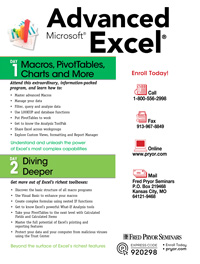 Advanced Microsoft<small><sup>®</sup></small> Excel<small><sup>®</sup></small> - Diving Deeper