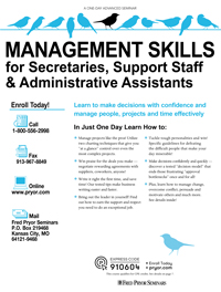 Management Skills for Secretaries, Support Staff & Admin. Assistants